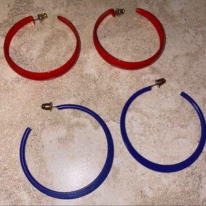 Vintage colored hoops - 2 pairs